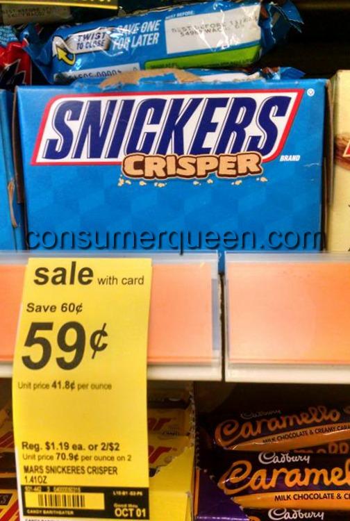 Snickers Crisper Candy Bar 34¢ at Walgreens