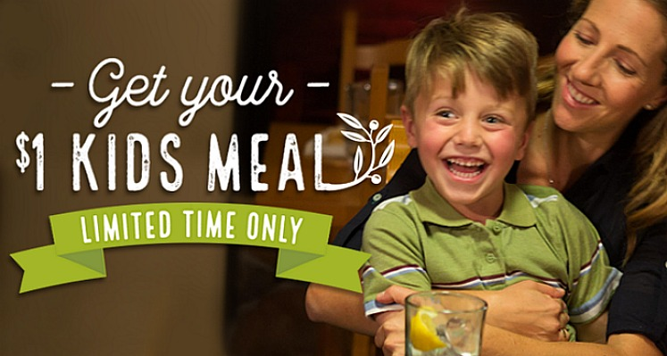 Olive Garden Kids Meals $1.00 With Adult Entree Purchase