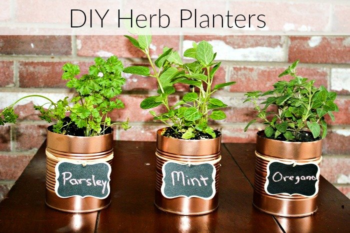 Herb Planters diy herb planters with repurposed cans- consumerqueen