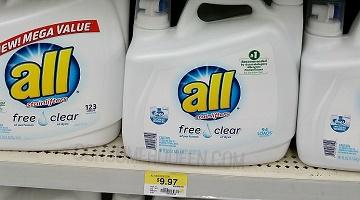 All Free & Clear Liquid Detergent 7¢ per Load at Walmart!