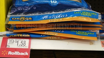 Ortega Flour Tortillas 10-ct. ONLY $1.08 at Walmart!