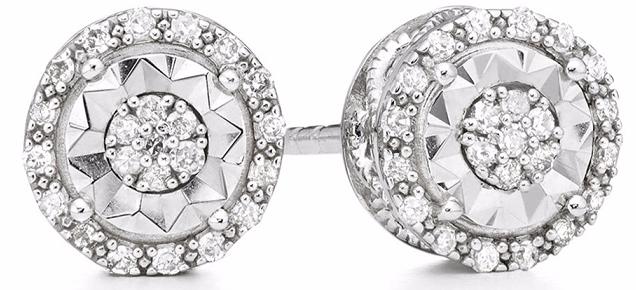 JC Penney: Double Halo Diamond Stud Earrings in Sterling Silver $25!