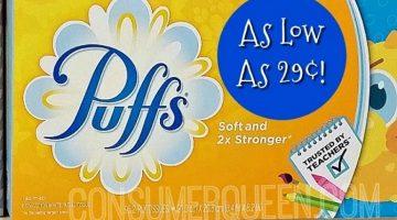 Puffs Facial Tissues 29¢ at Homeland, 74¢ at CVS!