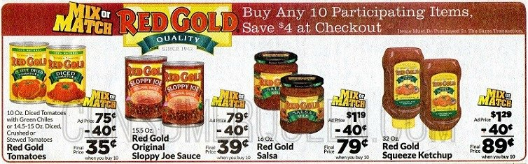 Red Gold Tomato Products as low as 15¢ at Homeland & Country Mart!