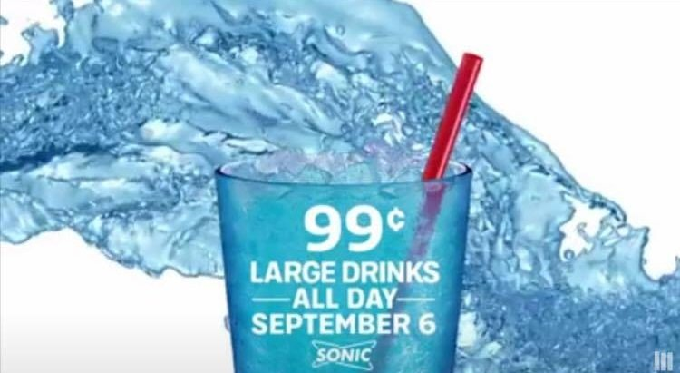 Sonic: Large Drinks 99¢ All Day Long on Wednesday 9/6