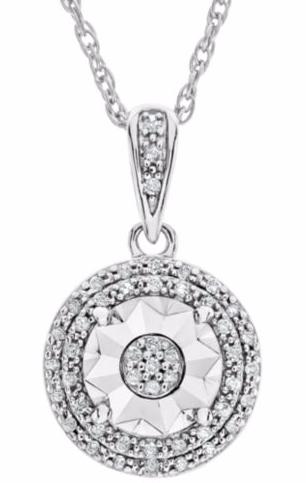 JC Penney:1/10 CT. T.W. Double Halo Diamond Pendant Necklace $25!