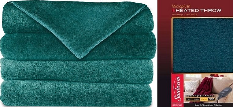 Sunbeam Teal Colored Heated Throw $19 (was $29.97) at Walmart!