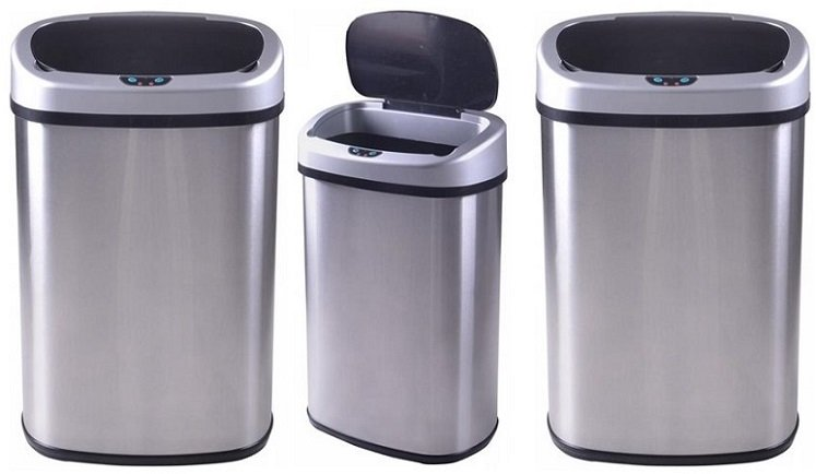 Touch-Free 13-Gallon Stainless Steel Trash Can Just $30 Shipped-Today Only!