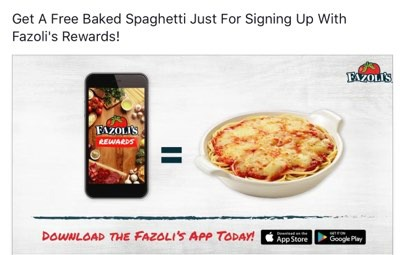image relating to Fazoli's Printable Coupons called Fazolis Added benefits: Free of charge Baked Spaghetti After On your own Indicator Up!
