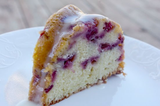 Fresh Strawberry Lemon Bundt Cake cut