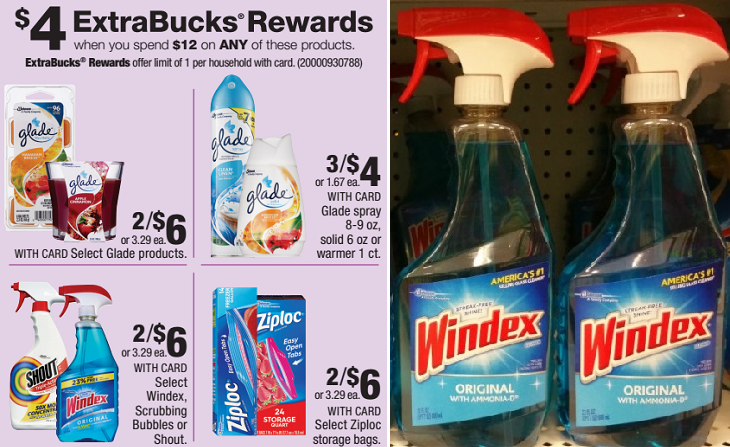 Windex & Shout ONLY $1.25 at CVS After ExtraBucks