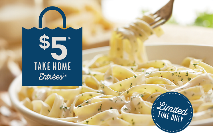 Olive Garden Take Home Entrees Just $5 with Entree Purchase!