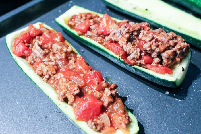 Keto Taco Zucchini Boats Filled