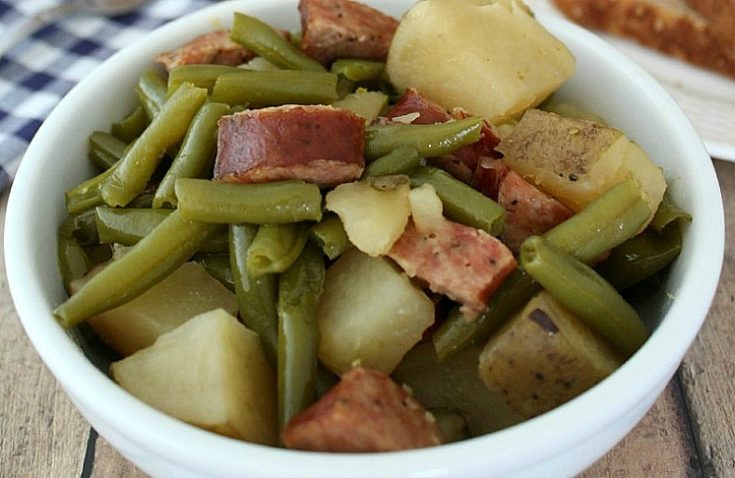Slow Cooker Green Beans Potatoes and Sausage Recipe