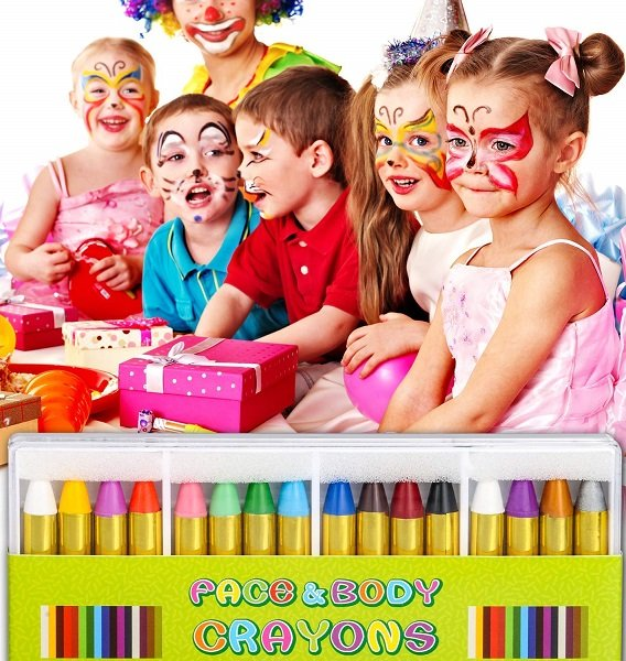 16 Colors Body & Face Paint Sticks $6.99 At Amazon