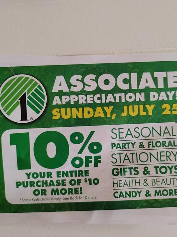 Dollar Tree Associate Appreciation Day: Save 10% off $10 Purchase!