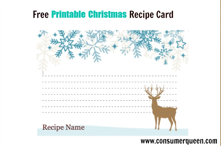 photograph about Printable Christmas Recipe Cards named Totally free Printable Xmas Food stuff Recipe Playing cards - Holiday vacation Themed!