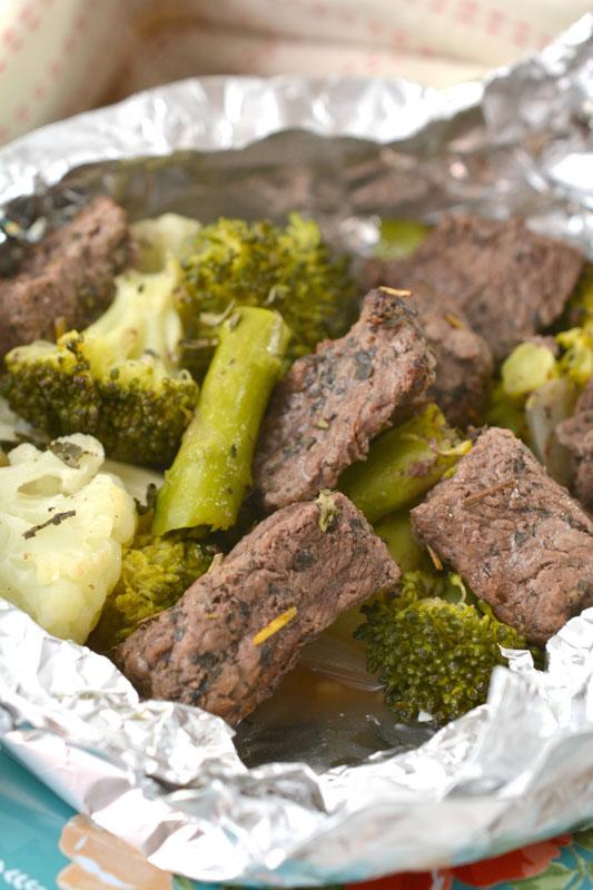 Keto Garlic Herb Steak Hobo Dinner vertical