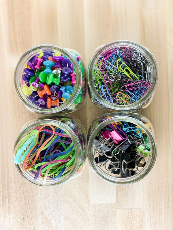 4 Jars filled - Mason Jar Office Hack