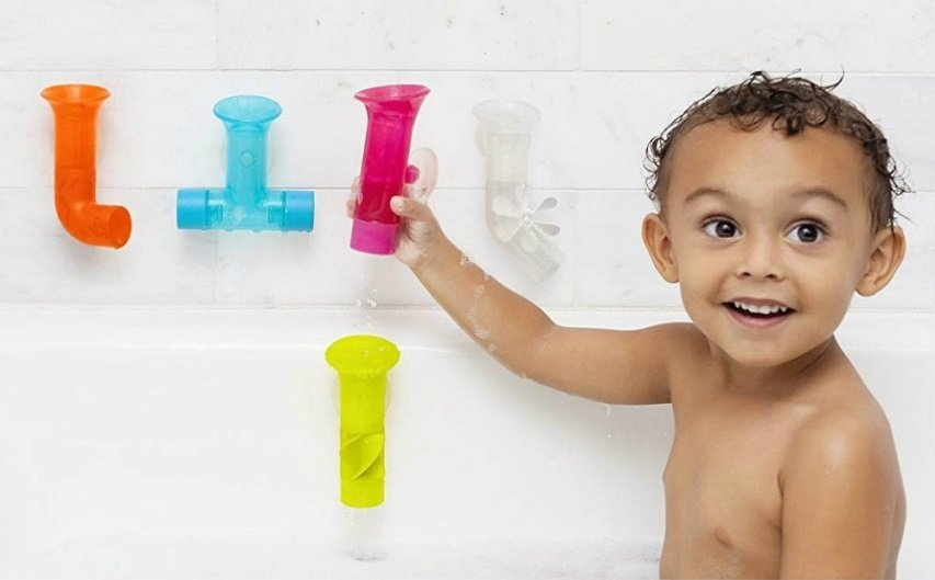 boon pipes bathtub building toy set