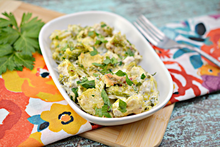 Low Carb Chicken Alfredo Brussels Sprouts Plated