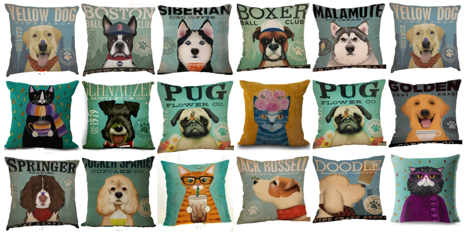 Cute & Fun Dog or Cat Pillow Covers – as Low as $9.98 Shipped