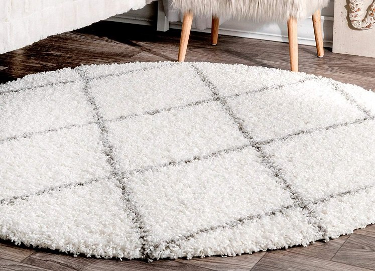 Round Shag Rug By Nuloom With Diamond Pattern 61 96
