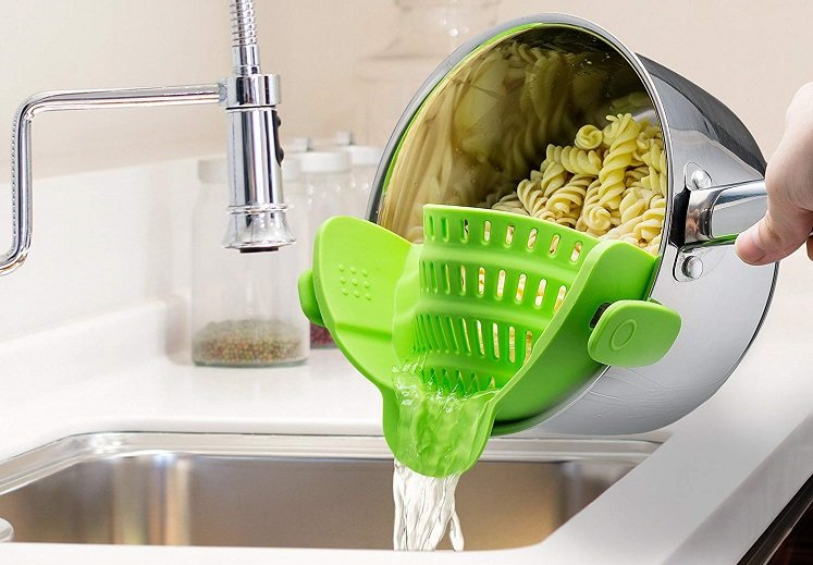 Clip On Silicone Colander by Kitchen Gizmo $11.99 on Amazon!