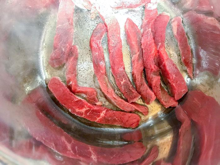 Stroganoff meat cooked