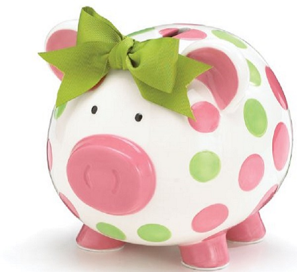 girls ceramic piggy bank -Frugal Macdoogal
