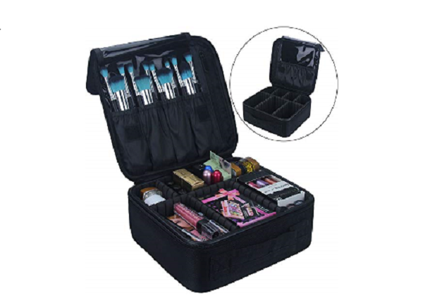 Makeup Train Case With Adjustable Dividers $18.98 on Amazon!