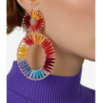 womens raffia rainbow earrings