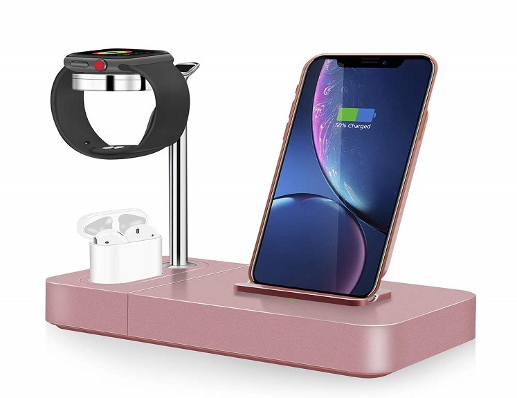 3 Item Charging Stand in Rose Gold Just $18.00(reg. $45.00) With Coupon on Amazon!
