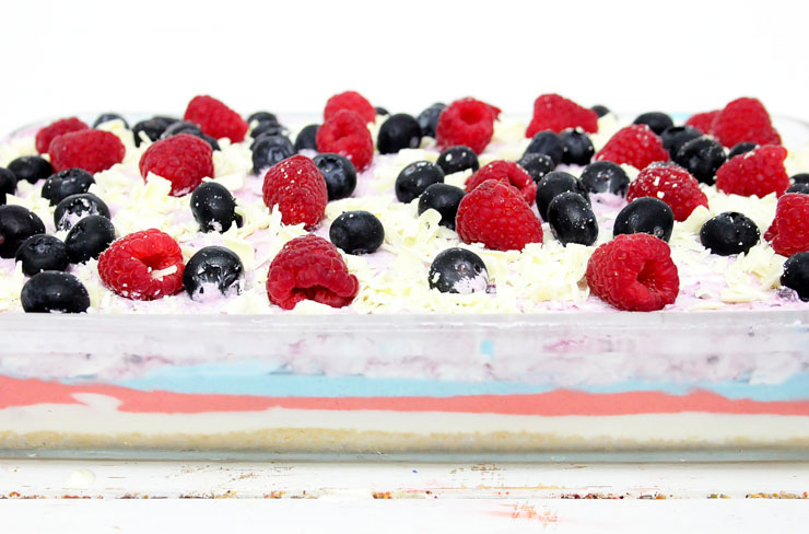 PATRIOTIC BERRY CHEESECAKE in casserole dish
