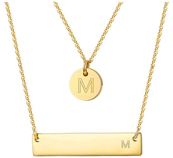 Gold Plated Initial Necklace Set $12.99 on Amazon!