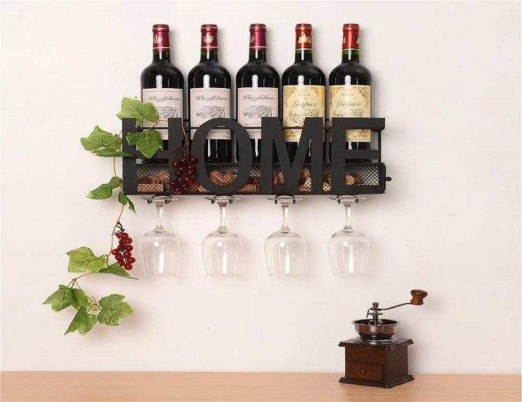 Wall Mounted Wine Rack with Glass and Cork Storage $24.99 on Amazon!