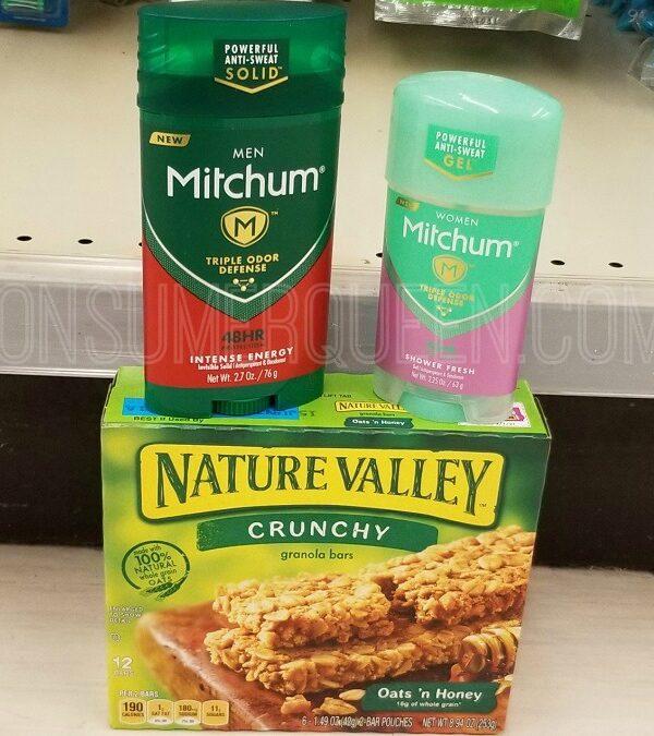 mitchum deodorant & nature valley granola bars