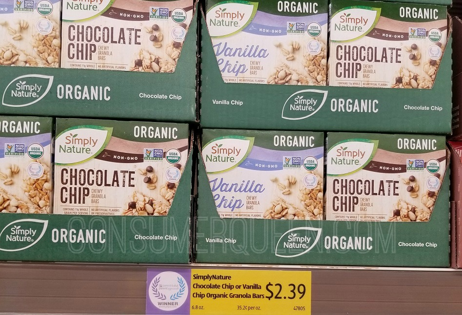 organic granola bars at aldi