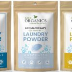 four organic laundry soap samples