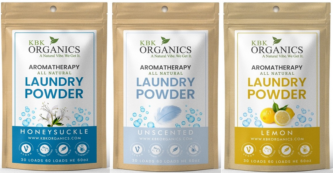 four organic laundry soap samples