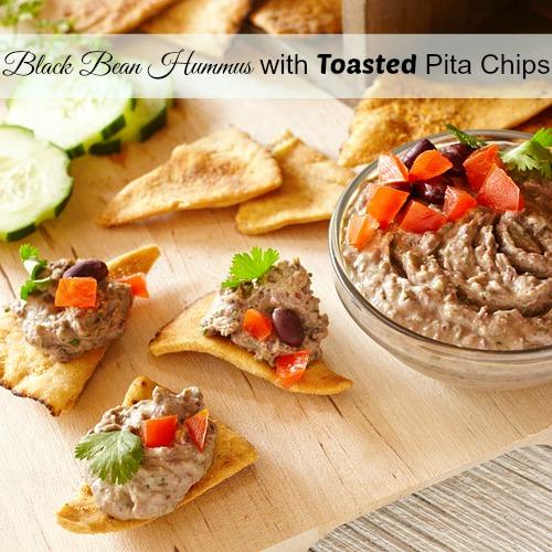 Black Bean Hummus with Toasted Pita Wedges