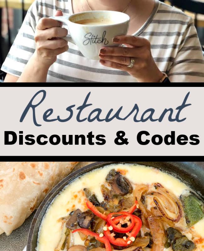 Restaurant Discounts & Codes 10/18