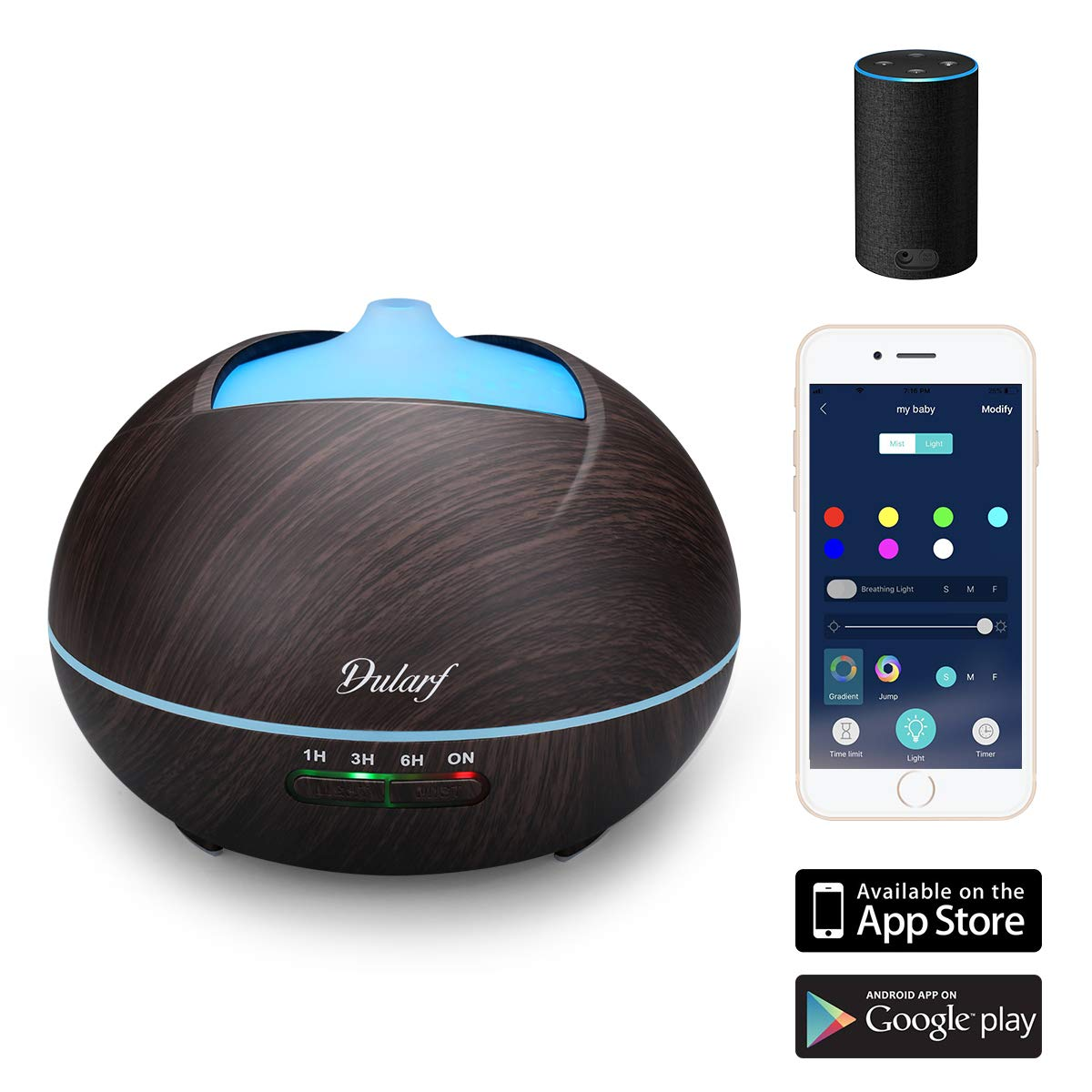 Essential Oil Diffuser with app control, voice & color! 60% off – $14.67 on Amazon