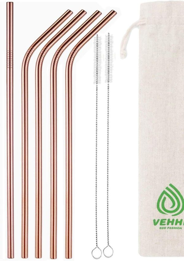 Metal Drinking Straws, rose gold pack of 8 – just $3.52! 56% off on Amazon