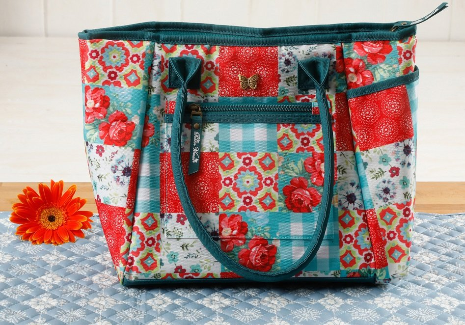 pioneer woman patchwork lunch tote