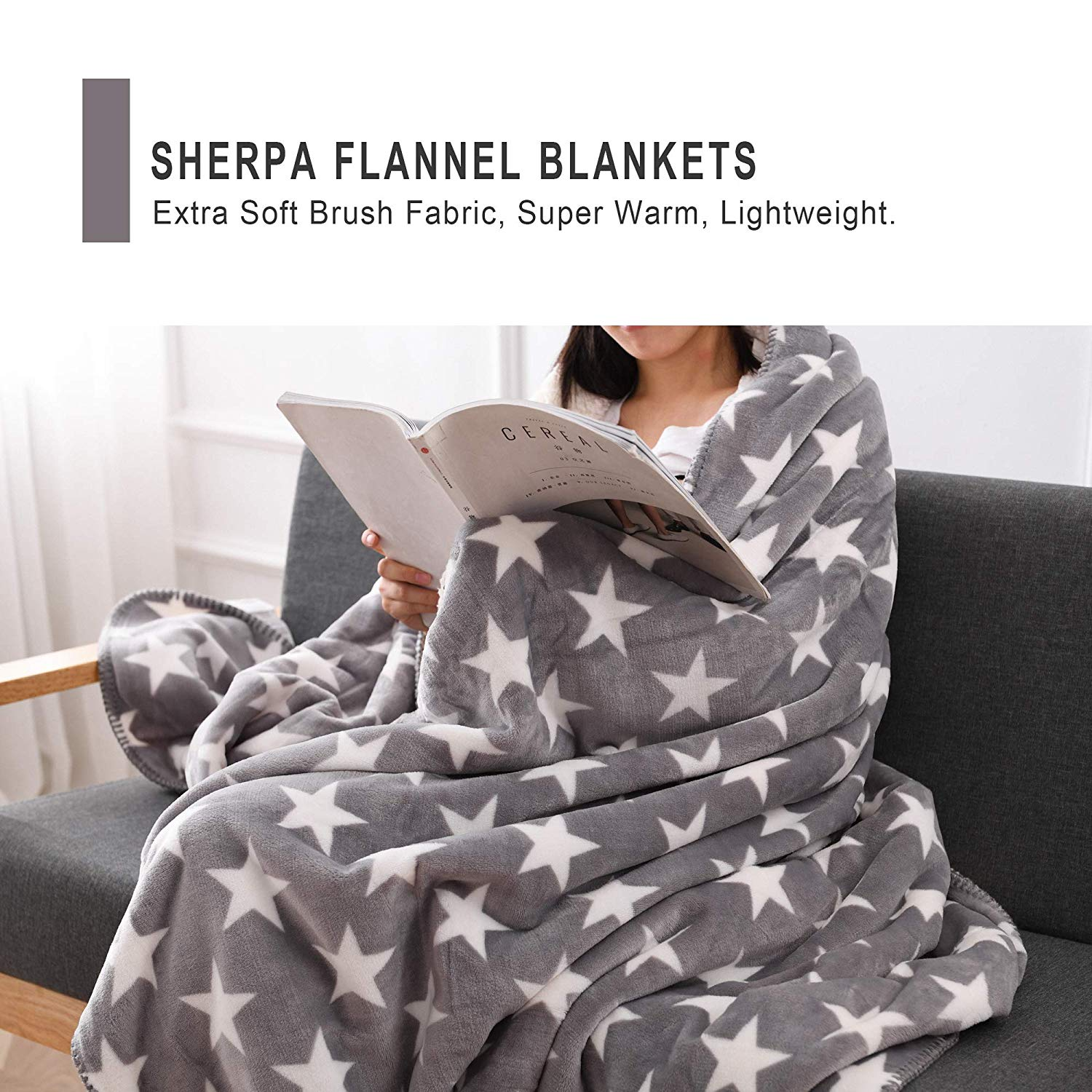 Sherpa Throw Blanket, 60″ x 80″ in 12 colors! 50% off, just $16.99 on Amazon