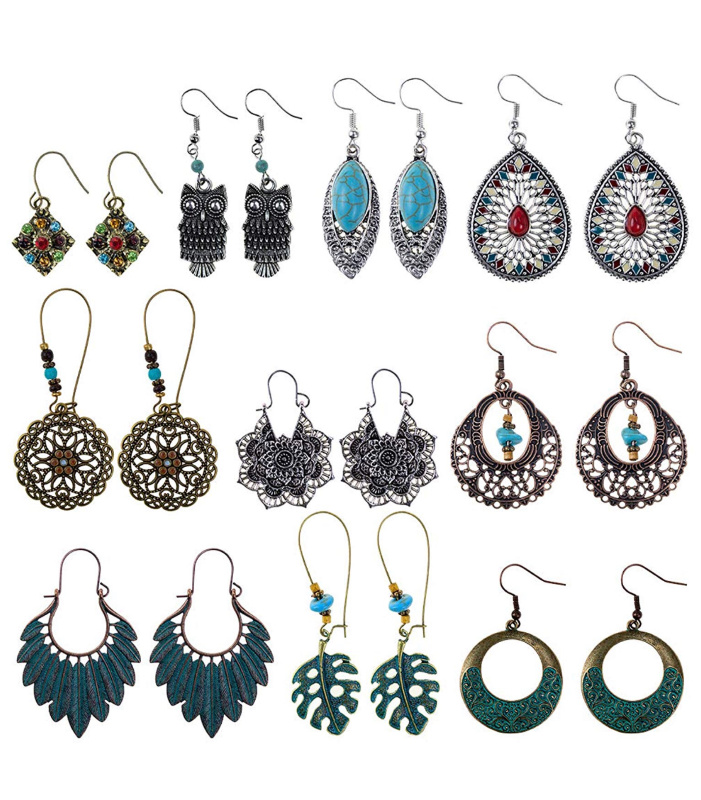 Bohemian Vintage Earrings, Set of 10 just $7.60 on Amazon