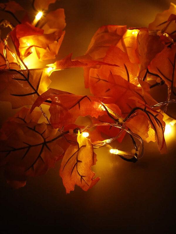 lighted leaf garland