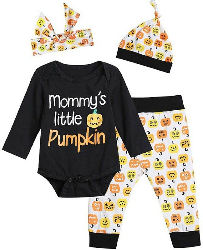 """Baby Halloween Outfit Unisex Set, """"Mommy's Little Pumpkin"""" only $6.39 on Amazon!"""