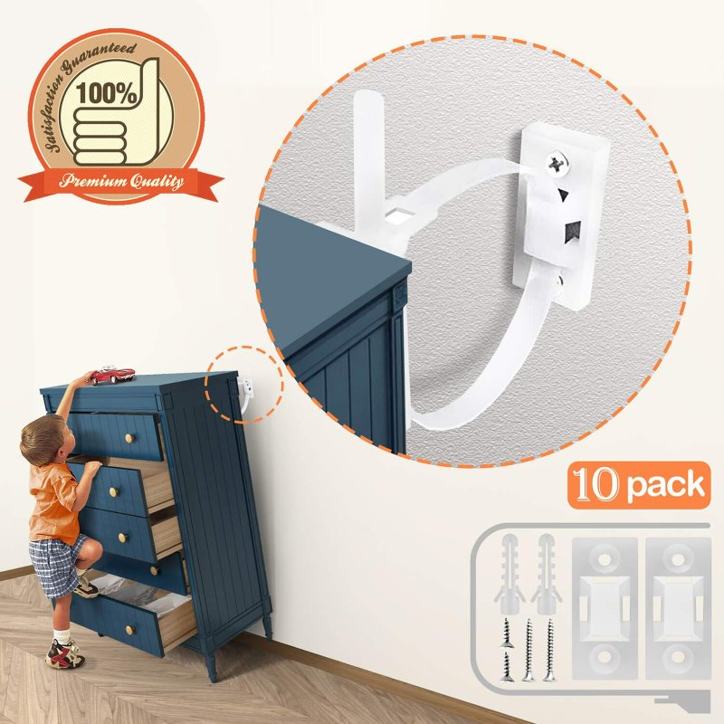 Baby Proofing Straps, pack of 10 wall anchors – $6.49 on Amazon